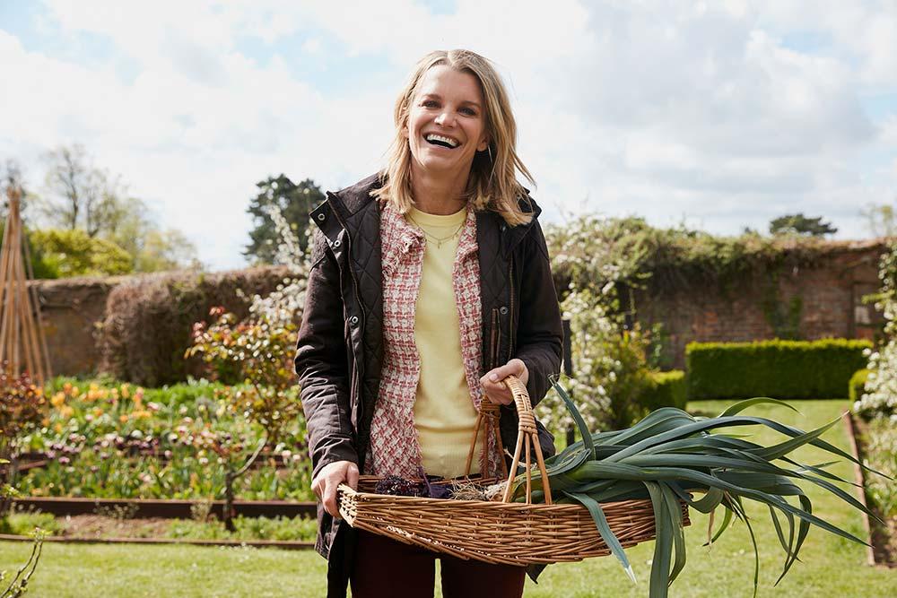 Julie Montagu in the Mapperton kitchen garden